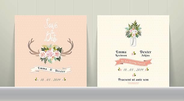 antler flowers rustic wedding save the date invitation card - zigeunerleben stock-grafiken, -clipart, -cartoons und -symbole