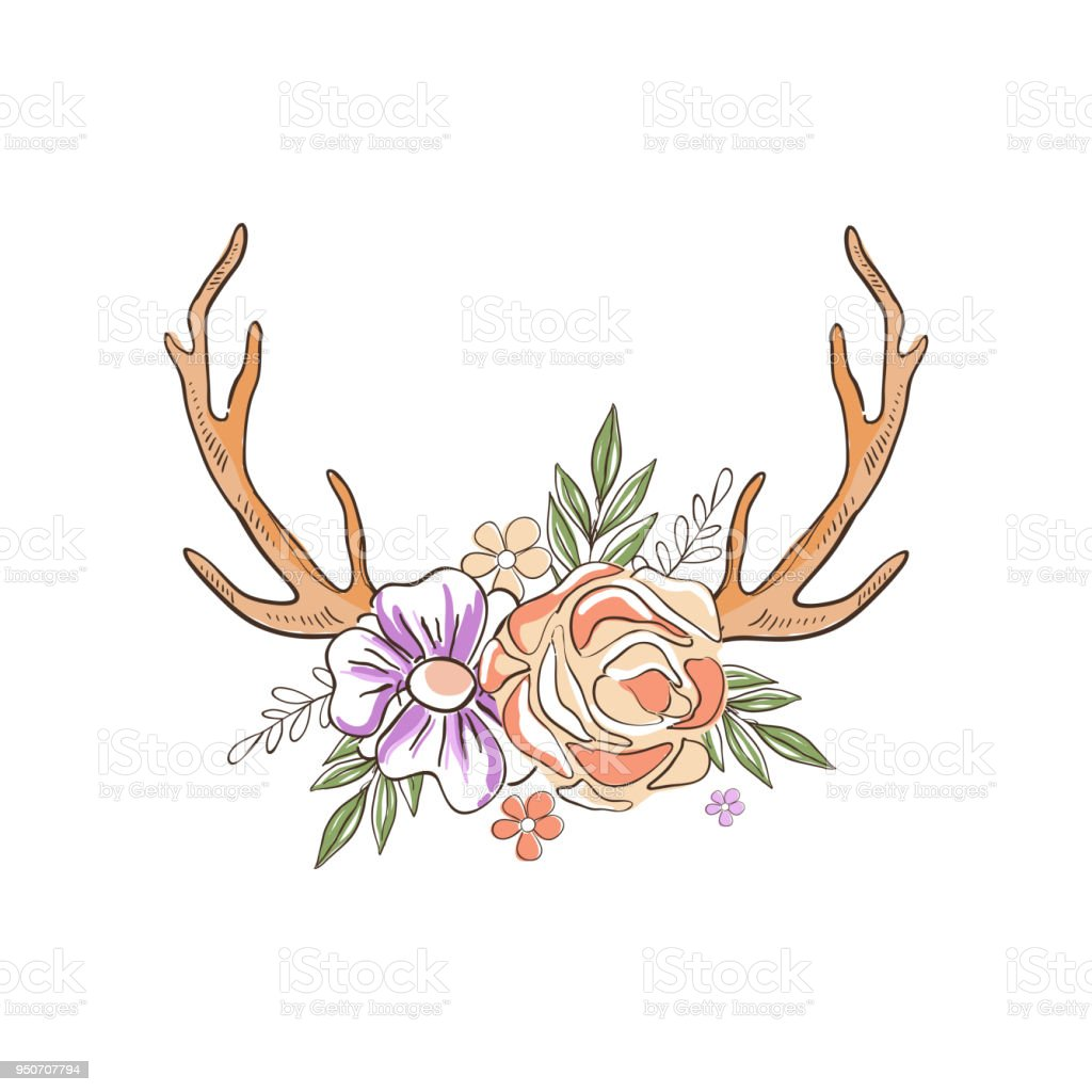 Geweih Mit Blumen Und Pflanzen Hand Gezeichnete Florale Komposition
