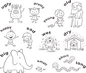 Antonyms Cartoons, Black and White
