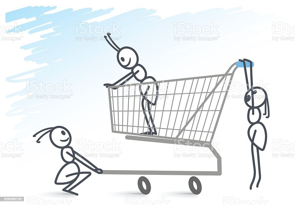 Ants and a shopping cart vector art illustration