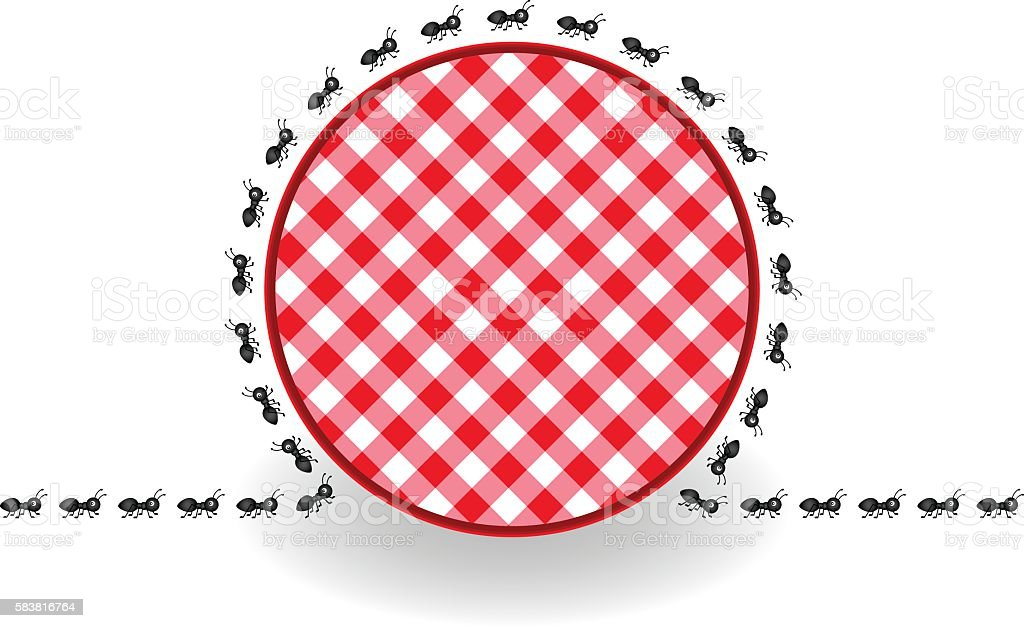 Ants around label picnic plaid vector art illustration
