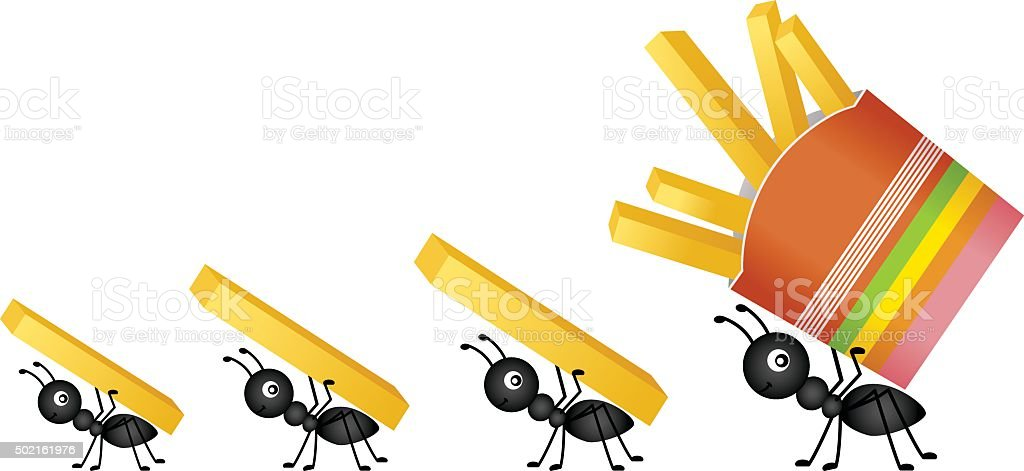 Ants carrying french fries vector art illustration
