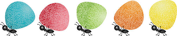 Ants carrying gumdrops Scalable vectorial image representing a ants carrying gumdrops, isolated on white. gum drop stock illustrations