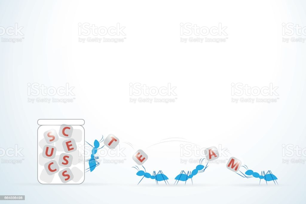 ants collecting cube sugar with team and success words to glass jar, teamwork and business concept vector art illustration