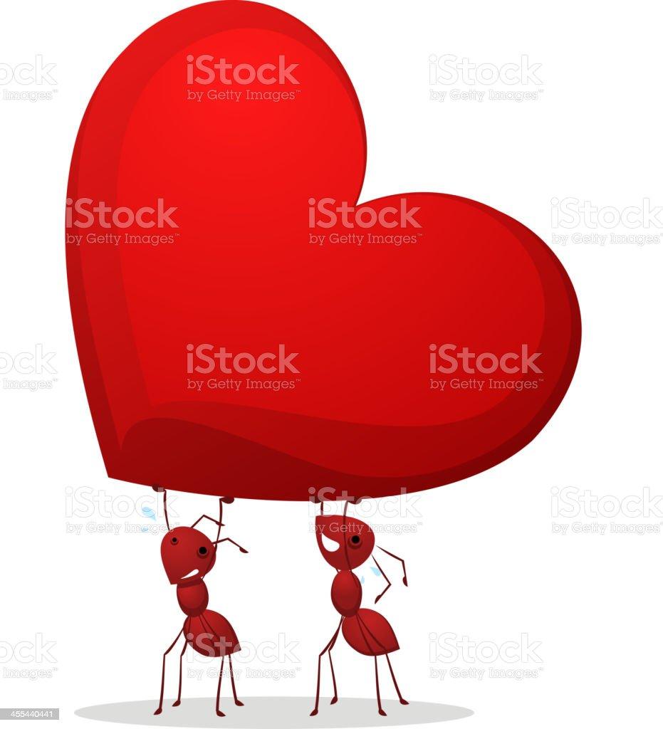 Ants Heart vector art illustration