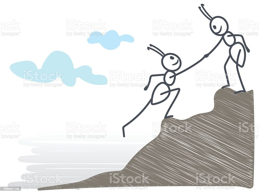 Ants helping each other on a rock vector art illustration
