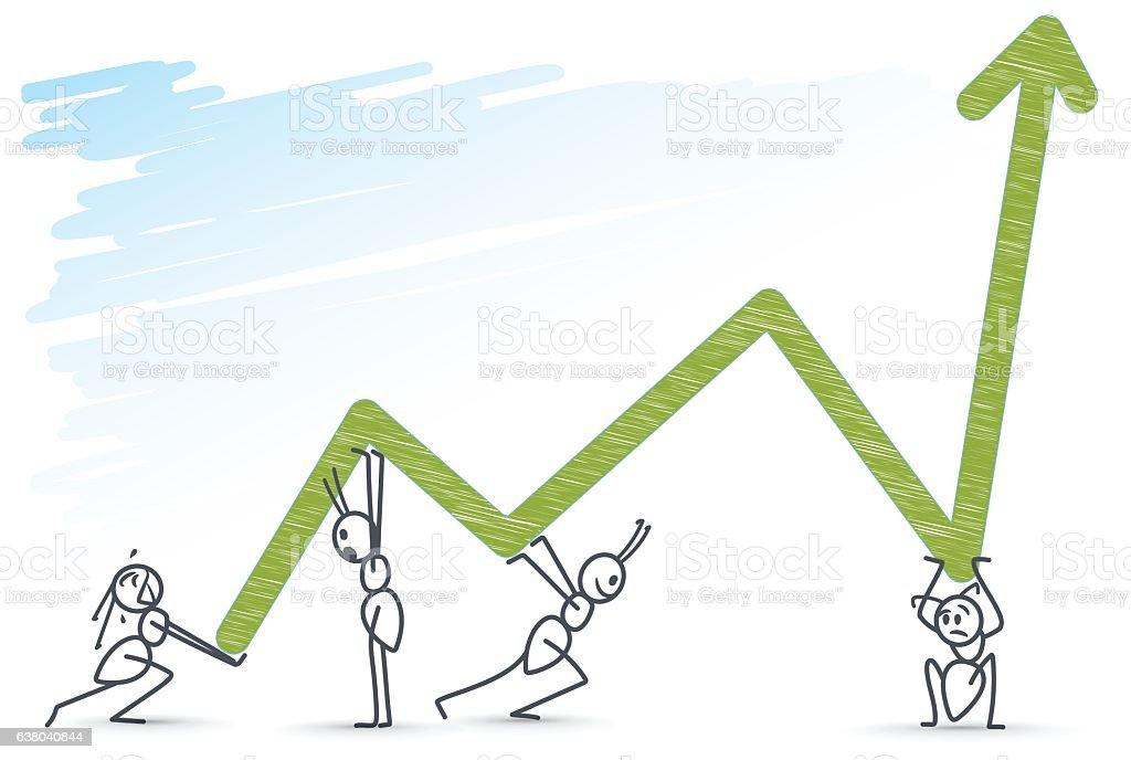 ants holding a chart vector art illustration