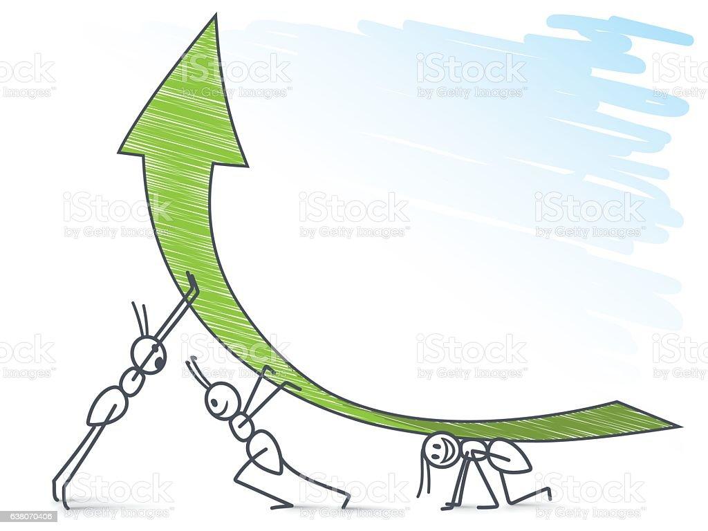 Ants holding a green arrow vector art illustration
