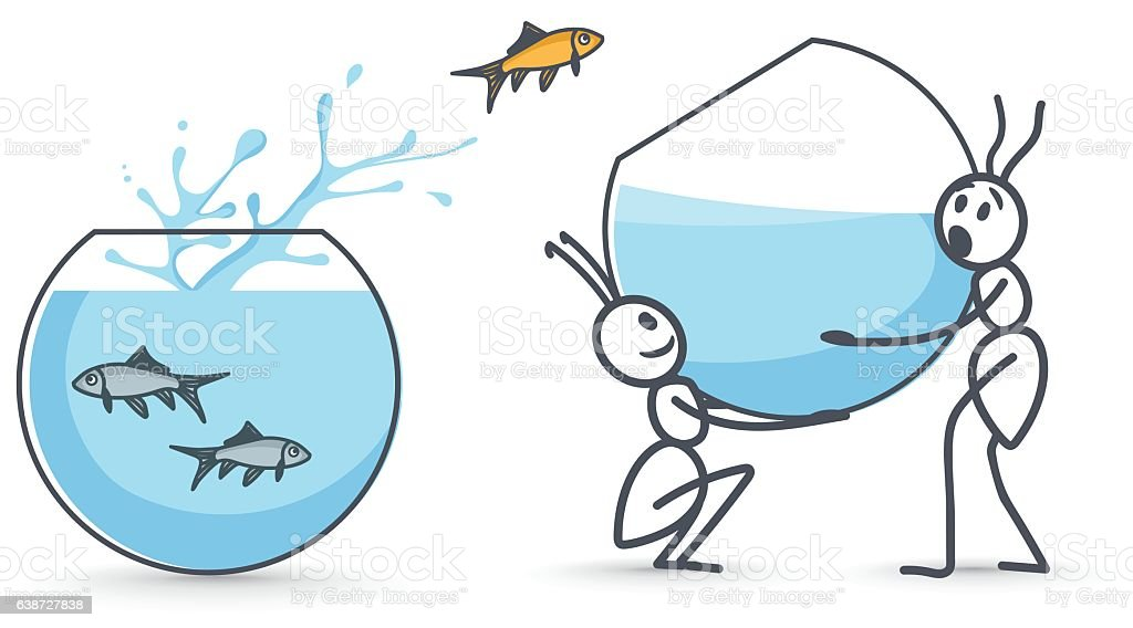 Ants holding aquarium vector art illustration