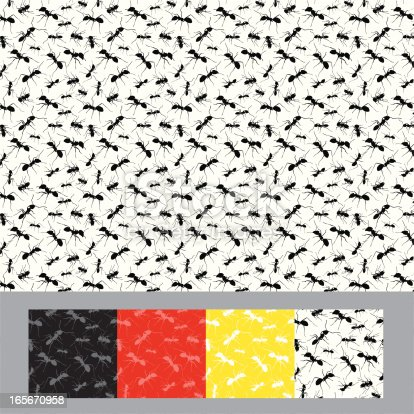 Seamless pattern. Ants silhouette.ZIP archive includes four .JPG 2800x2800, and file pattern .PAT for PHOTOSHOP
