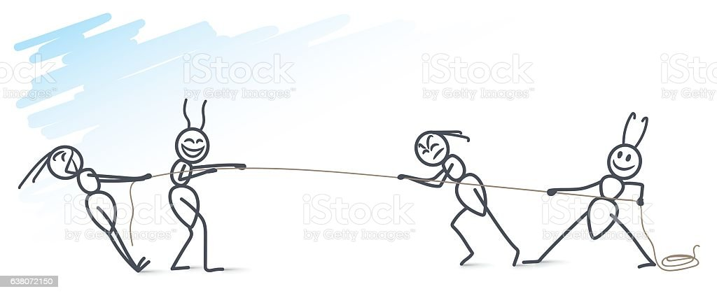 ants pulling a rope vector art illustration