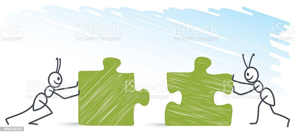Ants pushing puzzles vector art illustration