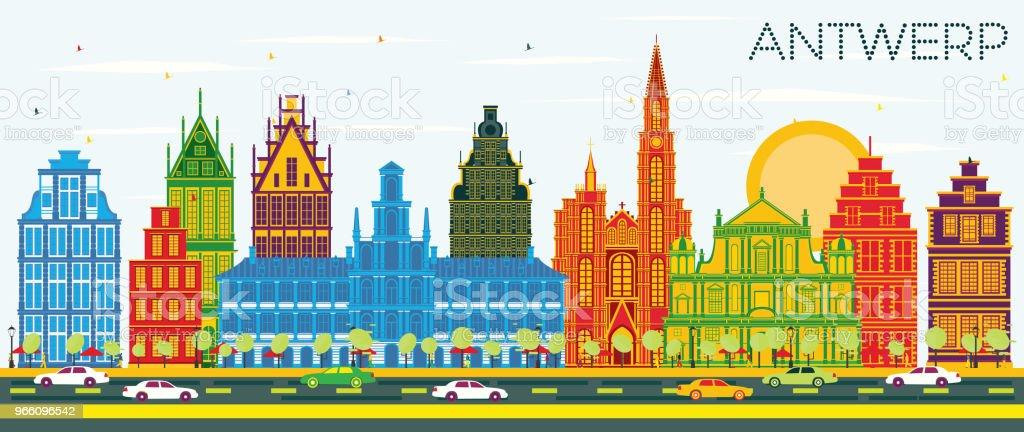 Antwerpen-Belgien-Stadt Skyline mit Farbe Gebäuden und blauer Himmel. - Lizenzfrei Architektur Vektorgrafik