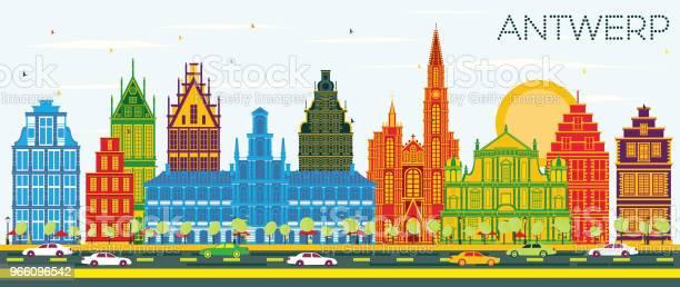 Antwerpen Belgien Stadssilhuetten Med Färg Byggnader Och Blå Himmel-vektorgrafik och fler bilder på Antwerpen - Belgien