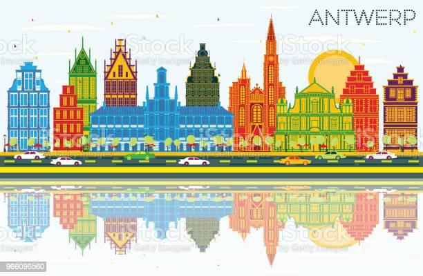 Antwerpen Belgien Stadssilhuetten Med Färg Byggnader Blå Himmel Och Reflektioner-vektorgrafik och fler bilder på Antwerpen - Belgien