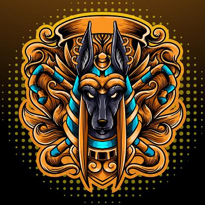 Anubis head mascot. esport logo design