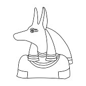 Anubis Icon In Flat Style Isolated On White Background Ancient Egypt