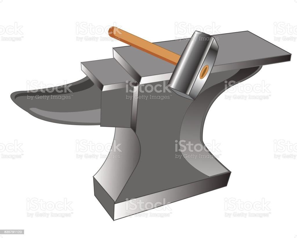 Anvil and hammer vector art illustration