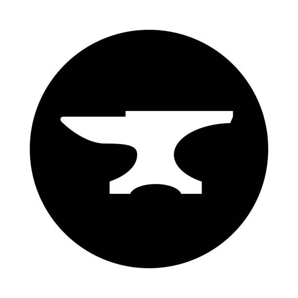 Anvil circle icon. Black, round, minimalist icon isolated on white background. vector art illustration