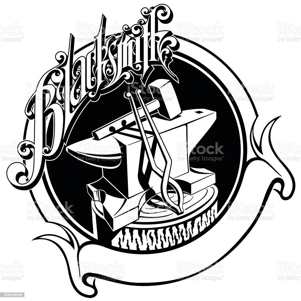 blacksmith hammer clipart. anvil hammer tongs blacksmith forging vector illustration royalty-free stock art clipart