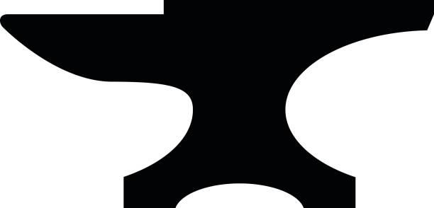 Anvil icon. Black, minimalist icon isolated on white background. vector art illustration