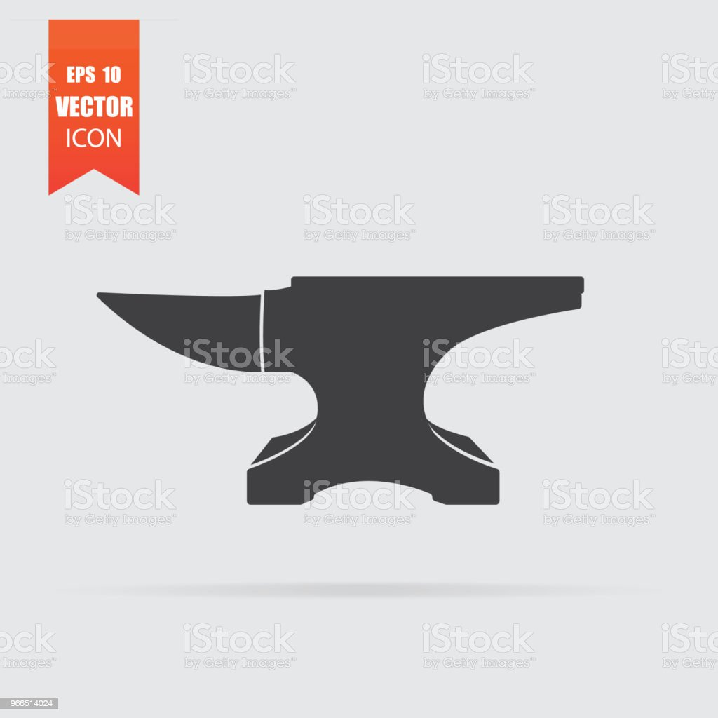 Anvil icon in flat style isolated on grey background. vector art illustration