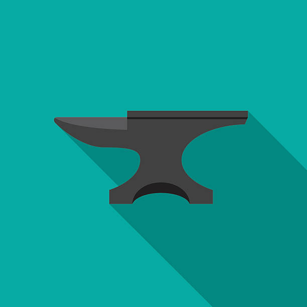 Anvil icon with long shadow. vector art illustration