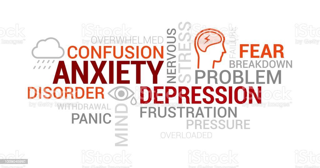 不安、精神疾患やうつ病タグクラウド - アイコンのロイヤリティフリーベクトルアート