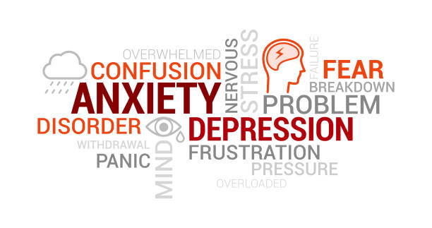 Anxiety, mental disorders and depression tag cloud vector art illustration