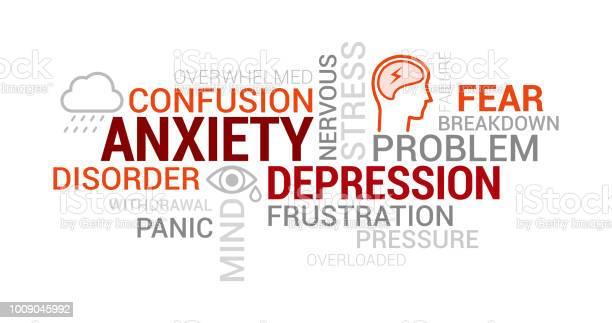 不安精神疾患やうつ病タグクラウド - アイコンのベクターアート素材や画像を多数ご用意