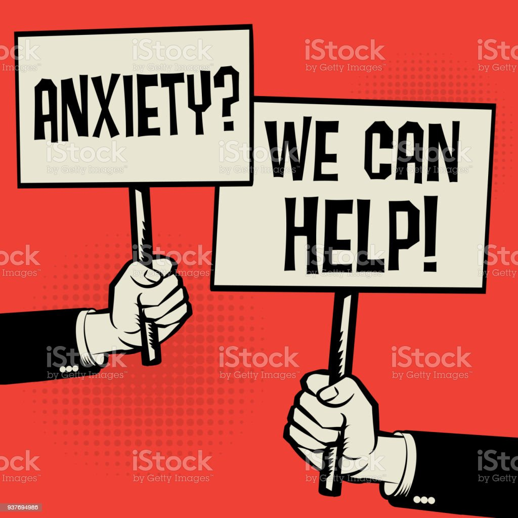 Anxiety? We Can Help! vector art illustration