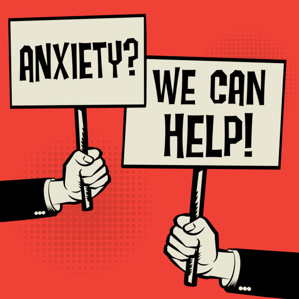 anxiety? we can help! - anxiety stock illustrations, clip art, cartoons, & icons