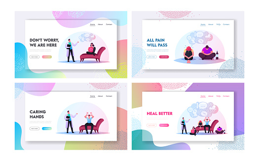 Anxious Characters Sitting at Psychologist Doctor Cabinet Landing Page Template Set. Depressed Men and Women Depression