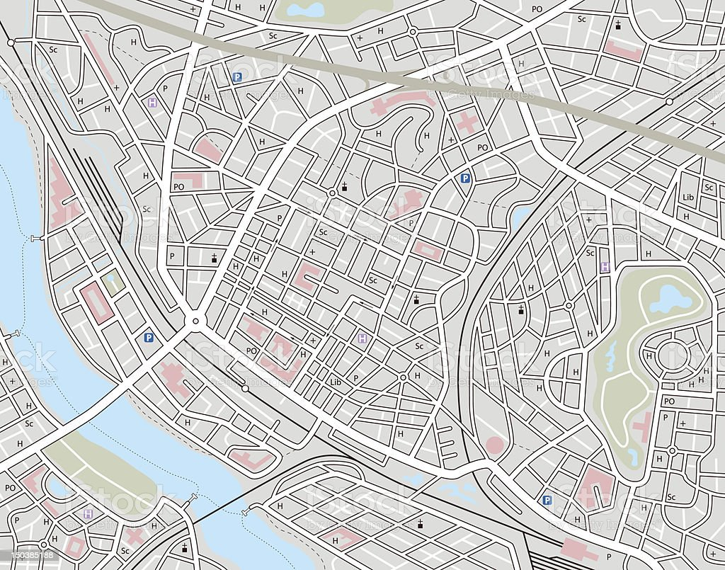 Any city map vector art illustration