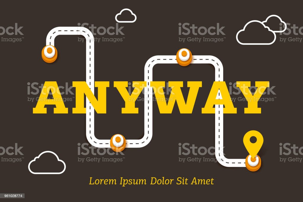 Anyway business concept with winding road vector art illustration