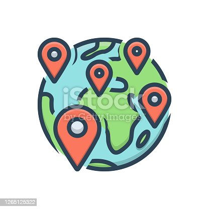Icon for anywhere, somewhere, anytime, navigation, map, location