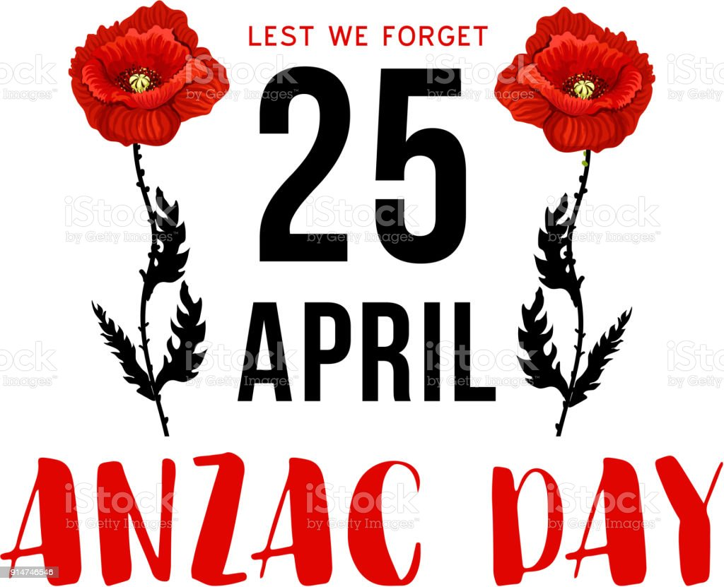Anzac Day 25 April memorial card with red poppy vector art illustration