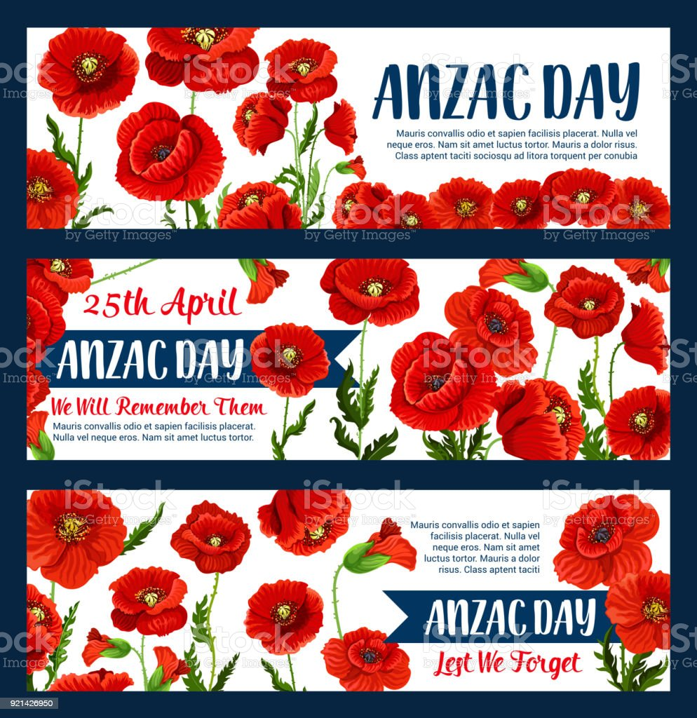Anzac Day 25 April poppy vector greeting banners vector art illustration