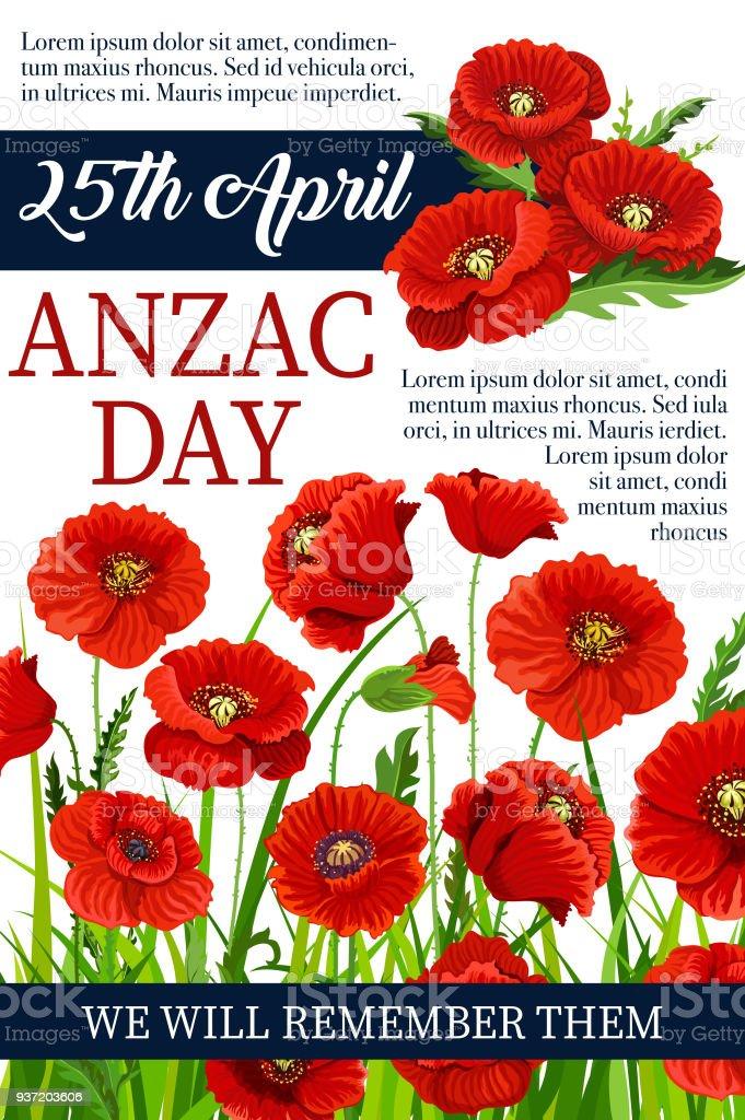 Anzac Day 25 April poppy vector war memory poster vector art illustration