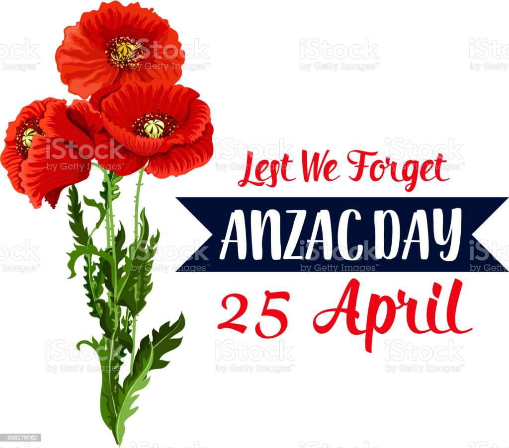 Anzac Day 25 April red poppy vector icon ribbon vector art illustration
