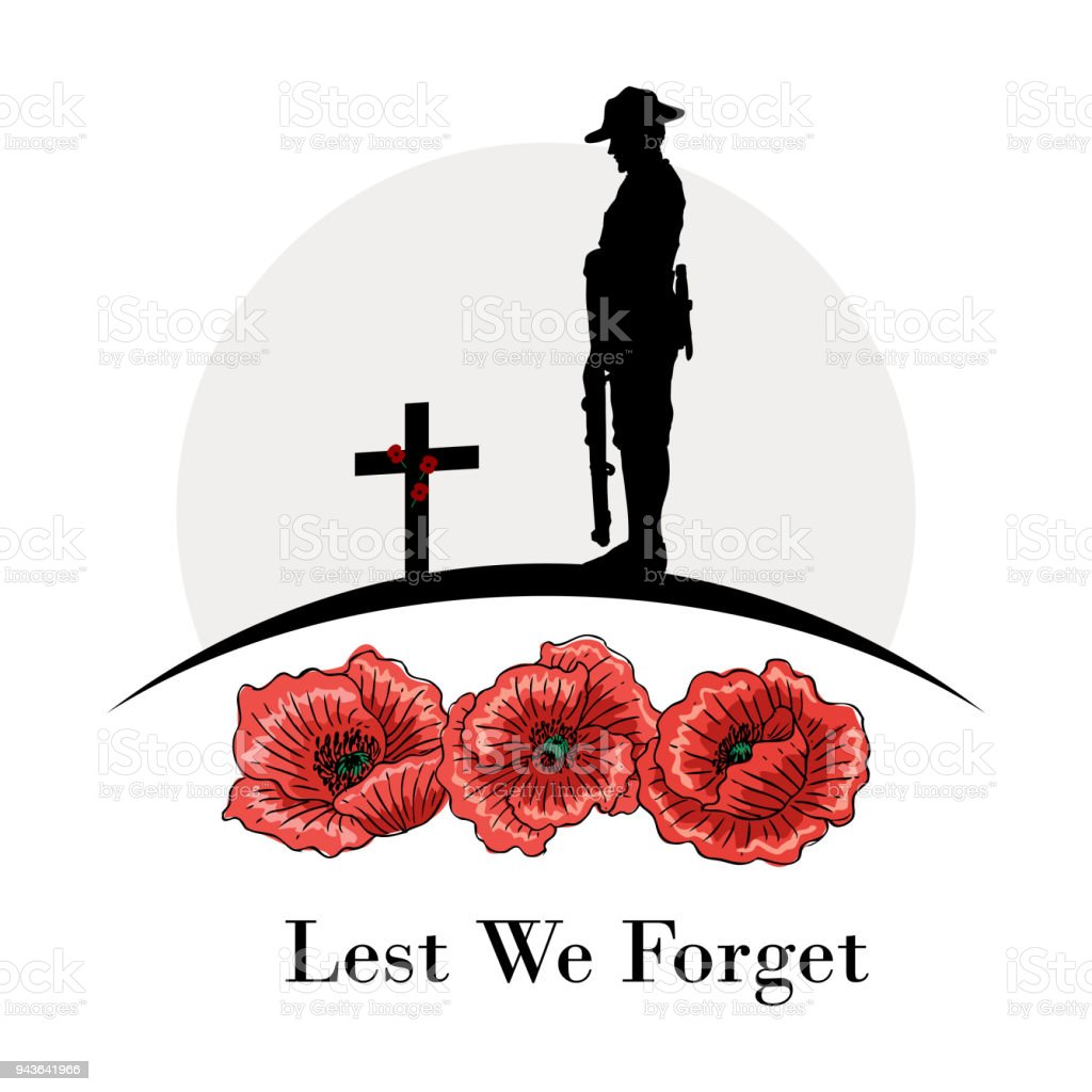 Anzac Day Banner, Silhouette of soldier paying tribute, Vector vector art illustration