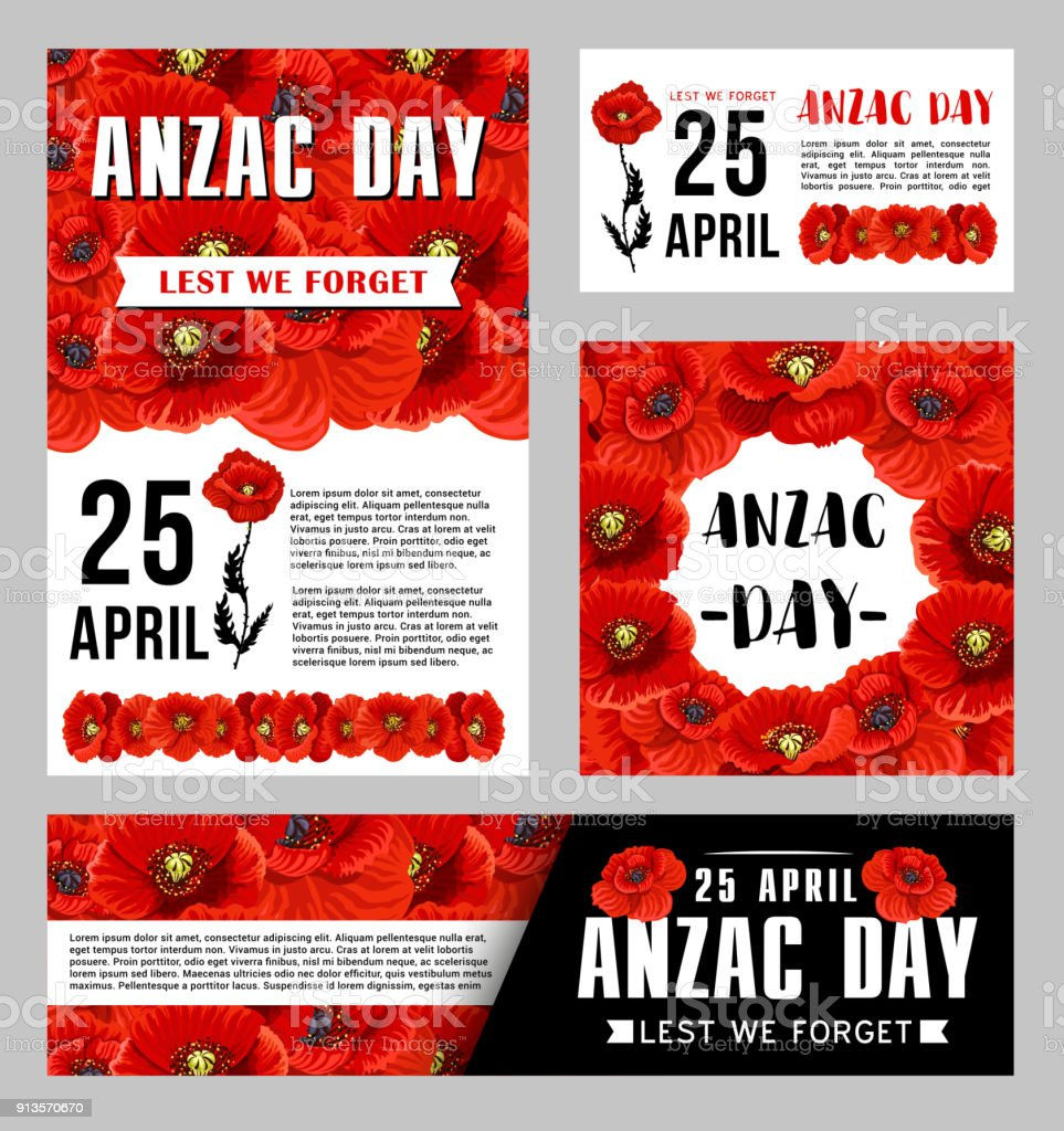 Anzac Day banner template with red poppy flower vector art illustration