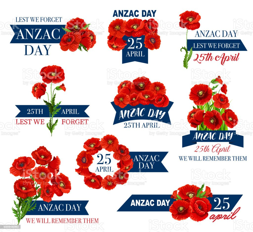 Anzac Day icon of poppy flower and memorial ribbon vector art illustration