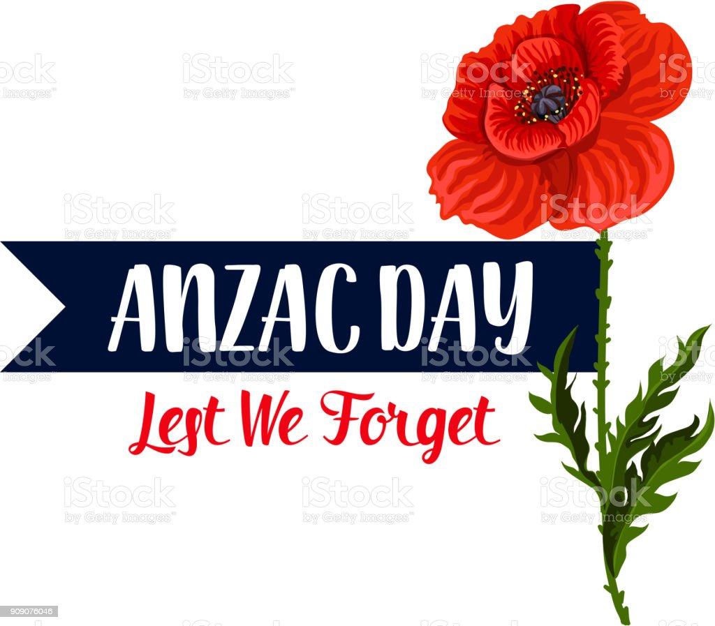 Anzac Day Lest We Forget poppy vector ribbon icon vector art illustration
