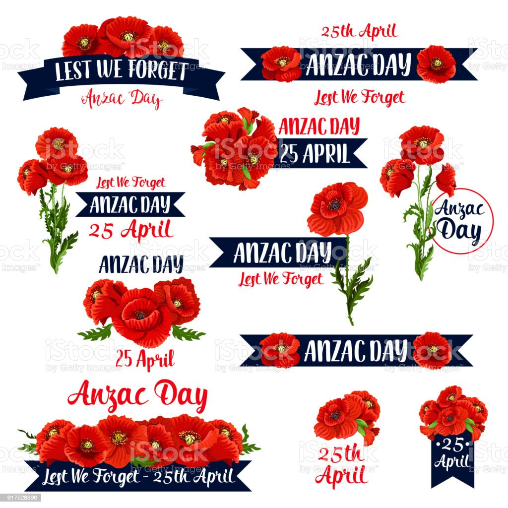 Anzac Day Lest We Forget red poppy vector icons vector art illustration