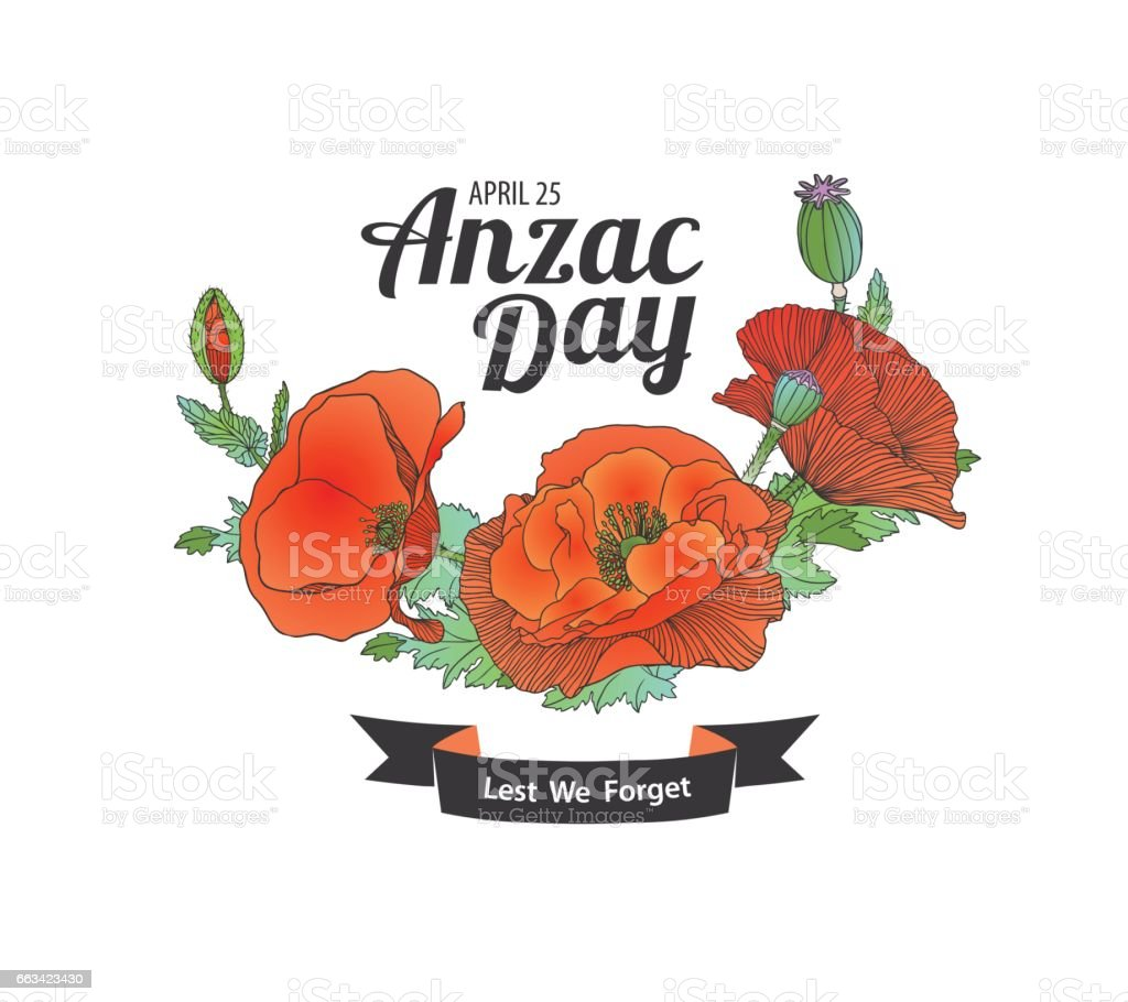 Anzac Day. Lest we forget vector art illustration