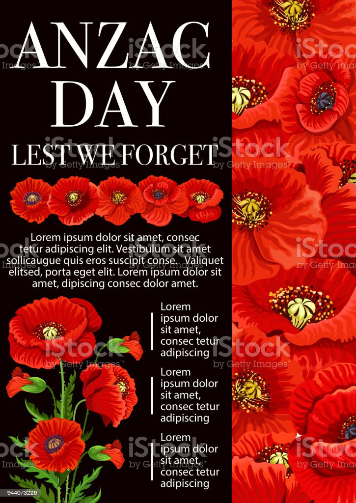Anzac Day poppy flower for Lest We Forget banner vector art illustration