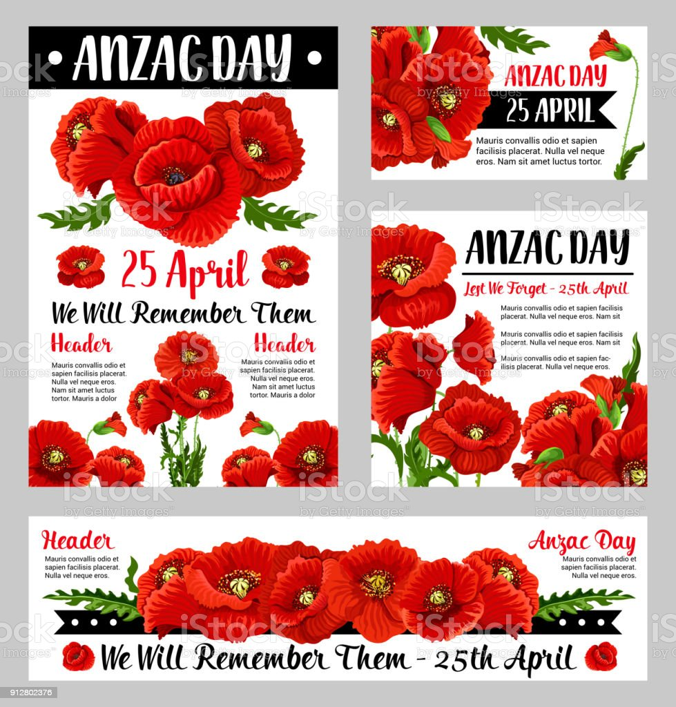 Anzac Day poppy flower for poster or card design vector art illustration