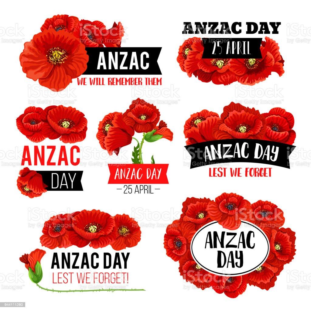 Diseño de tarjeta de conmemorativo de Anzac día flor amapola - ilustración de arte vectorial