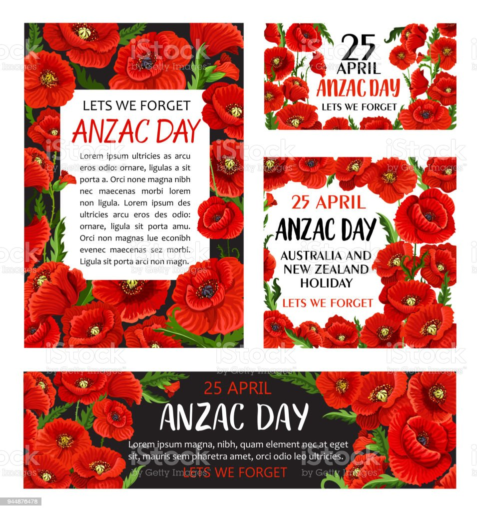 Anzac Day poppy flower memorial card design vector art illustration